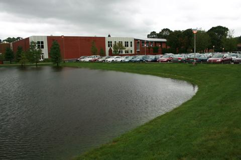 The Quinnipiac soccer field was flooded yesterday after Hurricane Irene came through Hamden. Charlotte Greene/Chronicle