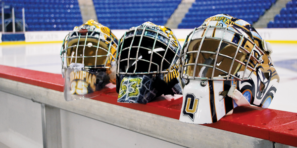 Quinnipiac ice hockey goalie helmets