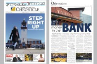 Summer 2011 Front: This special edition of The Quinnipiac Chronicle was handed out to students at freshman orientation. It featured important articles from the past school year, serving as a guide to all things Quinnipiac. -SE Back:  The TD Bank Sports Center is home to Quinnipiac men's and women's hockey and basketball. It plays host to some of the top teams from the area. It also serves as a great recruiting tool to help make the teams that play there even better. The highlight of any season at the arena is the men's hockey game against Yale. -TO