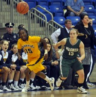 Quinnipiac 77, Wagner 60Quinnipiac's Felicia Barron goes for the ball in the first half of Saturday's game vs. Wagner.