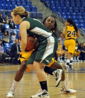 Quinnipiac 77, Wagner 60Quinnipiac's Felicia Barron steals the ball away from a Wagner player in the first half of Saturday's game.