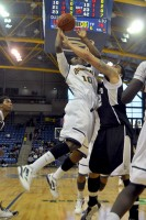 Garvey Young goes up for a layup in the first half of Quinnipiac's game against LIU Brooklyn Saturday.