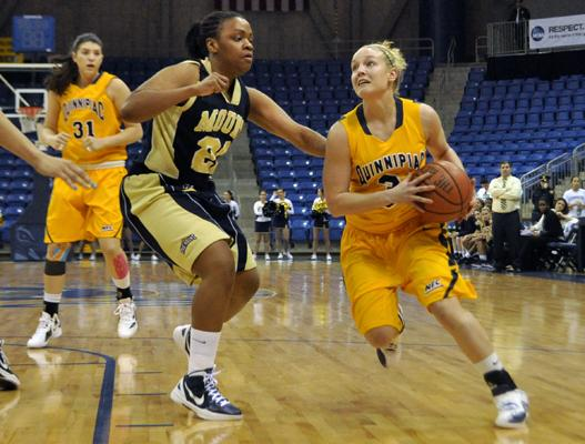 Quinnipiac 89, Mount St. Mary's 73Quinnipiac's Lisa Lebak drives to the hoop in the second half of Monday's game vs. Mount St. Mary's.