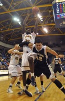 Ousmane Drame brings down one of Quinnipiac's Division I program-record 61 rebounds Saturday against LIU Brooklyn.