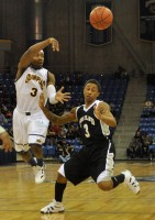 James Johnson makes an overhand pass to a teammate in the second half in Saturday's game vs. LIU Brooklyn.