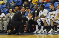 Quinnipiac head coach Tom Moore talks to his bench during Quinnipiac's game vs. LIU Brooklyn Saturday.