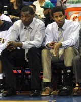 Forwards Marquis Barnett (L) and Jamee Jackson (R) watch from the bench in Quinnipiac's game vs. LIU Brooklyn Saturday.