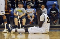 Ousmane Drame reacts after he is called for a foul in the second half of Quinnipiac's game vs. LIU Brooklyn Saturday.