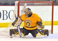 Quinnipiac goalie Victoria Vigilanti makes a save in the first period in Saturday's game vs. Harvard.