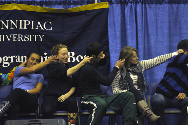 Quinnipiac gets hypnotizedQuinnipiac students get hypnotized by Sailesh Monday night in Burt Kahn Court.