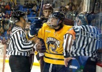 Quinnipiac 7, Colgate 1 Connor Jones reacts after a call in Saturday's game vs. Colgate.