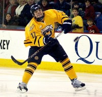 Quinnipiac 7, Colgate 1 Jeremy Langlois passes the puck in Saturday's game vs. Colgate.