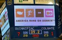 Quinnipiac 7, Colgate 1 The scoreboard reads Quinnipiac 7, Colgate 1 with 9.2 seconds remaining in the third period Saturday.