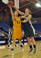 Quinnipiac 77, Wagner 60Quinnipiac's Camryn Warner goes up for a contested layup in Saturday's game vs. Wagner.