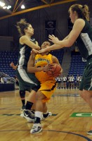 Quinnipiac 77, Wagner 60Quinnipiac's Jasmine Martin is fouled going to the hoop in the second half of Saturday's game vs. Wagner.