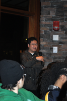 Socrates Café at RTSC  Professor of Philosophy Joo-Hawn Lee speaks to  to students about the meaning of life.