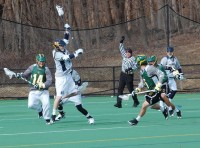 Quinnipiac vs. Vermont men's lacrosse scrimmageQuinnipiac's Evan Weldon playing defense.