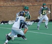 Quinnipiac vs. Vermont men's lacrosse scrimmageQuinnipiac's Jay Binkowski in a foot race with Vermont defenders.