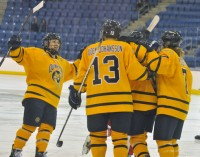 Quinnipiac 5, RPI 1Quinnipiac players celebrate after Breann Frykas scores a goal in Saturday's game vs. RPI.