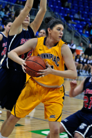 Quinnipiac 64, St. Francis (N.Y.) 41  Samantha Guastella handles the ball between two St. Francis (N.Y.) players.