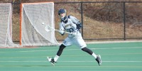 Quinnipiac vs. Vermont men's lacrosse scrimmageQuinnipiac's Brendan Wilbur makes a running catch to continue the play.