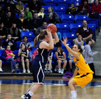 Quinnipiac 64, St. Francis (N.Y.) 41  Kari Goodchild defends against a St. Francis (N.Y.) player.