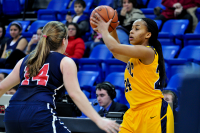 Quinnipiac 64, St. Francis (N.Y.) 41  Jasmine Martin looks to pass the ball as Sarah Benedetti defends.