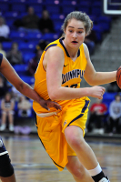 Quinnipiac 64, St. Francis (N.Y.) 41  Nikoline Ostergaard drives the ball against St. Francis.