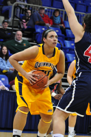Quinnipiac 64, St. Francis (N.Y.) 41  Brittany McQuain looks to take a shot against St. Francis.