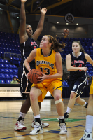 Quinnipiac 64, St. Francis (N.Y.) 41  Camryn Warner goes up for a shot against a St. Francis defender.