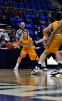 Quinnipiac 64, St. Francis (N.Y.) 41  Quinnipiac's Ellen Cannon looks to pass the ball into the paint.