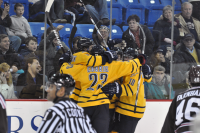 Quinnipiac 4, Brown 1  Quinnipiac's Zack Currie (23) and Connor Jones (10) celebrate after Kellen Jones' first goal Friday night.