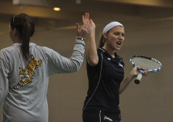Quinnipiac 7, Saint Francis (Pa.) 0Quinnipiac's Sarah Viebrock high-fives teammate Rachel Cantor after they win a point in their doubles match Sunday.