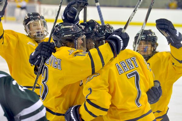 Quinnipiac 2, Dartmouth 1Quinnipiac players celebrate Ben Arnt's first-period goal in Saturday's game vs. Dartmouth.