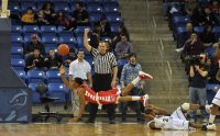 Quinnipiac 77, Saint Francis (Pa.) 44Saint Francis' Stephon Whyatt is fouled by Quinnipiac's Dave Johnson in the first half of Thursday's game.