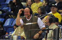 Quinnipiac 77, Saint Francis (Pa.) 44WQUN announcer Billy Mecca salutes the crowd in the first half of Thursday's game.