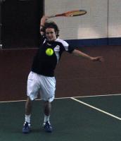 Quinnipiac 5, Saint Francis (Pa.) 2Quinnipiac's Andrew Weeden hits the ball in Sunday's match vs. Saint Francis (Pa.).