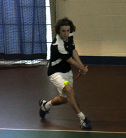 Quinnipiac 5, Saint Francis (Pa.) 2Quinnipiac's Andrew Weeden backhands the ball in Sunday's match.