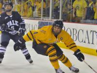 Quinnipiac 2, Yale 2Quinnipiac's Loren Barron chases down the puck in Saturday's game.