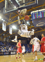 Quinnipiac 77, Saint Francis (Pa.) 44Quinnipiac forward Ousmane Drame dunks the ball in the second half of Thursday's game vs. Saint Francis (Pa.).