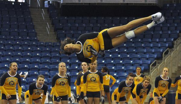 Maryland 284.540, Quinnipiac 274.855Quinnipiac's Erin Trotman does a flip in Saturday's meet vs. Maryland.