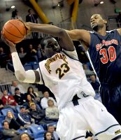 St. Francis (N.Y.) 64, Quinnipiac 56Quinnipiac's Ousmane Drame picks up a rebound in the second half of Thursday's game vs. St. Francis (N.Y.).