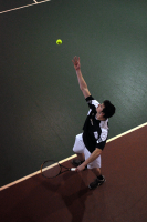 Quinnipiac 5, Saint Francis (Pa.) 2Quinnipiac's Garrett Lane tosses the ball in the air before a serve in Sunday's match vs. Saint Francis (Pa.).