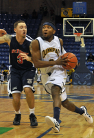 St. Francis (N.Y.) 64, Quinnipiac 56Quinnipiac's James Johnson drives to the hoop in the second half of Thursday's game vs. St. Francis (N.Y.).