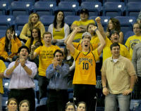 Quinnipiac 77, Saint Francis (Pa.) 44Quinnipiac fans cheer for Kevin Tarca in the second half of Thursday's game.