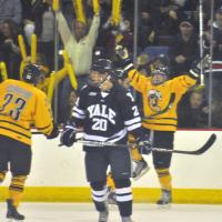 Quinnipiac 2, Yale 2Quinnipiac's Connor Jones celebrates after he scores a goal in the second period Saturday vs. Yale.