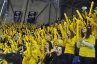 Quinnipiac 2, Yale 2Quinnipiac fans cheer after Connor Jones scores  a goal.