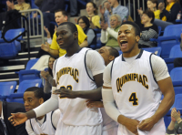 Quinnipiac 77, Saint Francis (Pa.) 44Quinnipiac's Ousmane Drame and Ike Azotam react after Terrance Bobb-Jones makes a layup in the second half of Thursday's game vs. Saint Francis (Pa.).