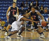 St. Francis (N.Y.) 64, Quinnipiac 56Quinnipiac guard James Johnson tries to steal the ball away from St. Francis (N.Y.)'s Travis Nichols in the second half of Thursday's game.
