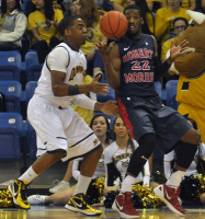 Quinnipiac 73, Robert Morris 69Quinnipiac's Zaid Hearst and Robert Morris' Lucky Jones go for the ball in the second half of Saturday's game.